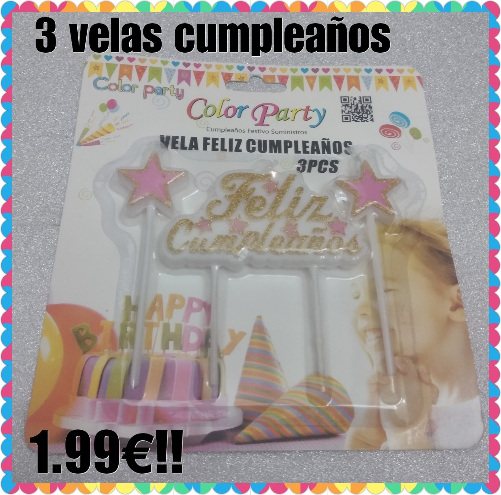 3 velas feliz cumpleaños