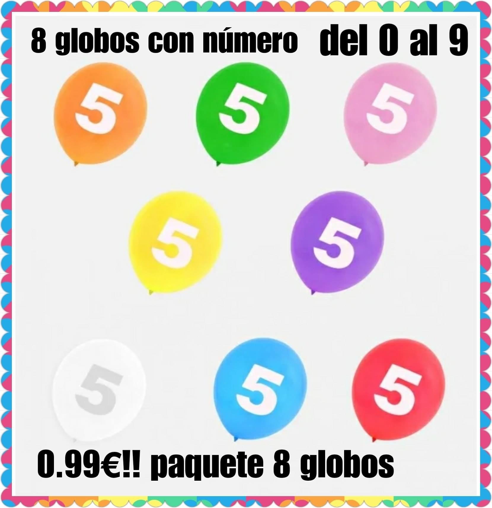 8 globos con numero