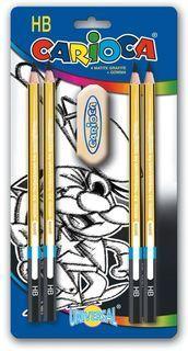 4 lapices grafito+goma carioca