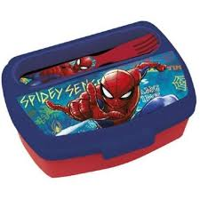 sandwichera con cubiertos spiderman