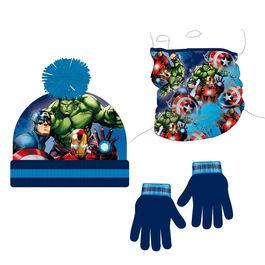 conjunto gorro+buff cuello polar+guantes vengadores