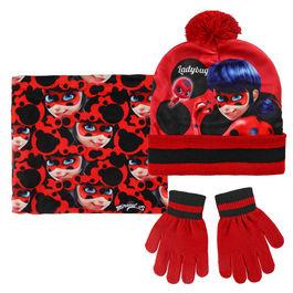 conjunto gorro+buff cuello polar+guantes ladybug
