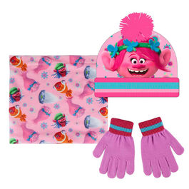 conjunto gorro+buff cuello polar+guantes poppy trolls