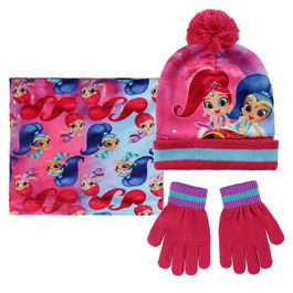 conjunto gorro+buff cuello polar+guantes shimmer and shine